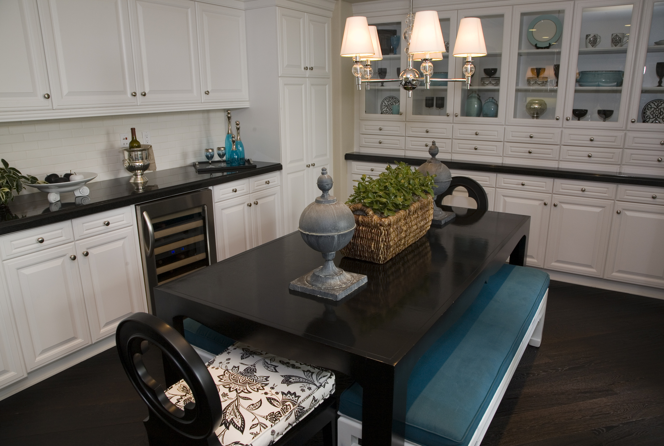 White Dining Teal Bench