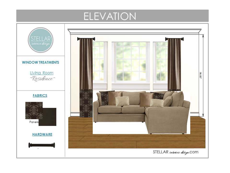 Window treatment ideas new client project stellar for Living room elevation