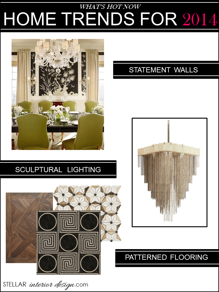 Statement Walls / 2. Sculptural Lighting / 3. Patterned Flooring