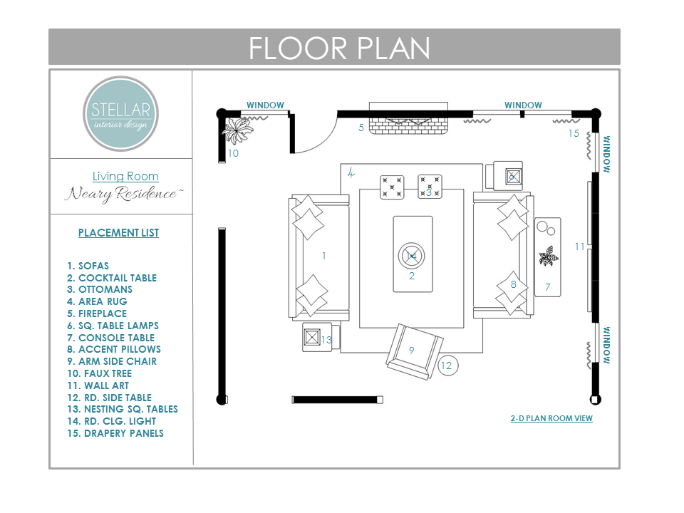 Floor plans for living room e design client stellar for Lounge room floor plans