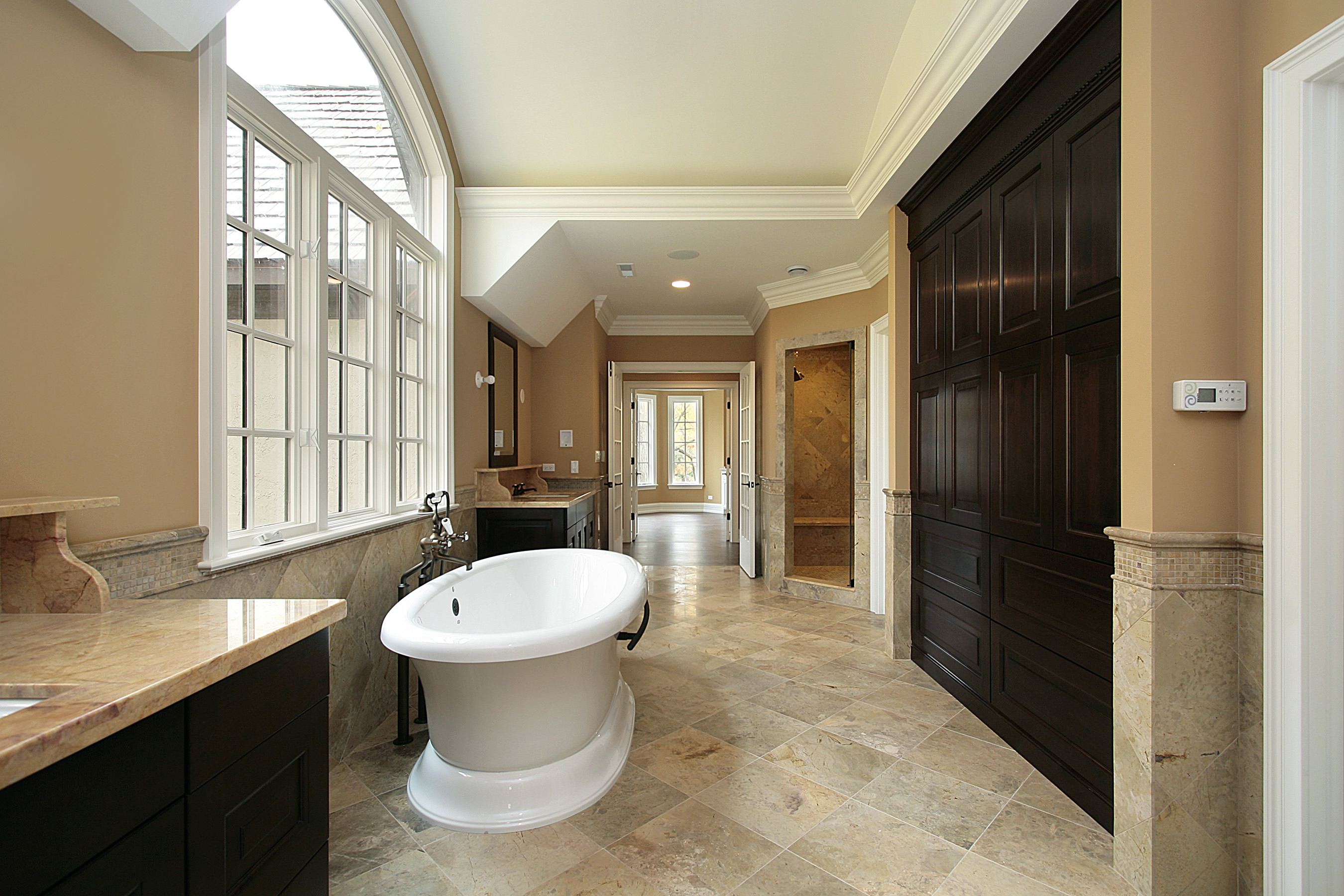 Master bath with large tub in new construction home
