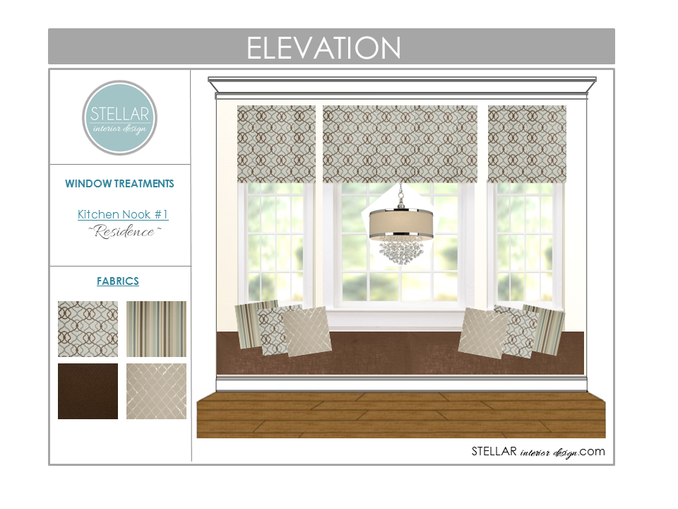 Roman shade designs new client project stellar interior for Window elevation designs