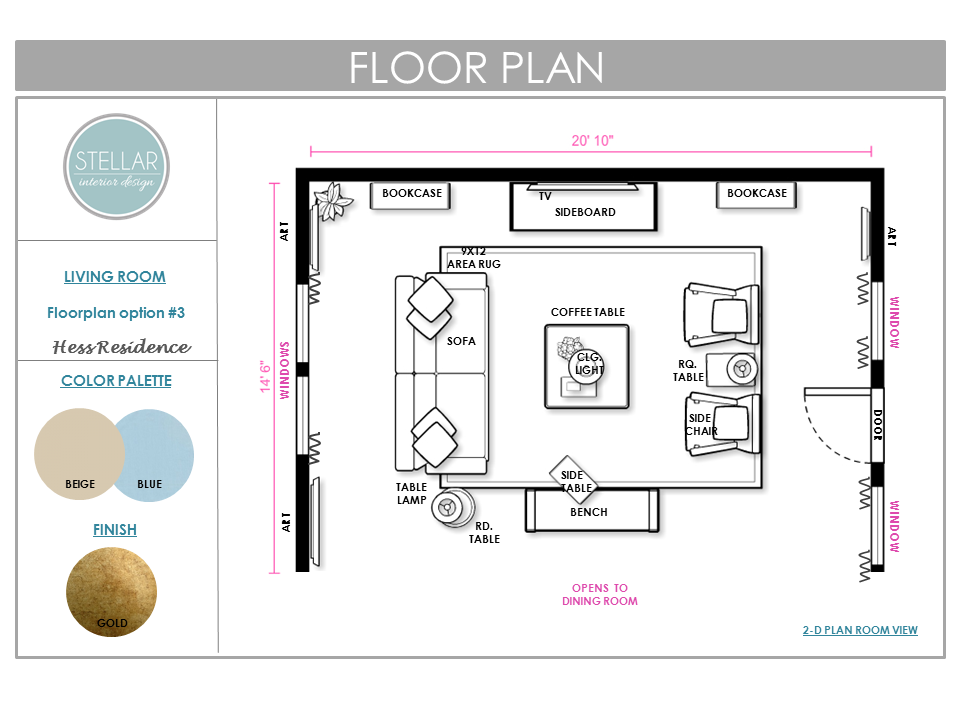 Living Room E-Design Floorplan by Stellar Interior Deisgn